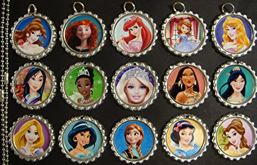 15 Princesses SILVER Bottle Cap Pendant Necklaces Set (Princess Bottle Cap Necklace)