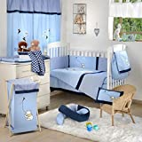 Blue Winnie the Pooh Crib Bedding Set (4PC Bedding Set + 1 x Diaper Bag)