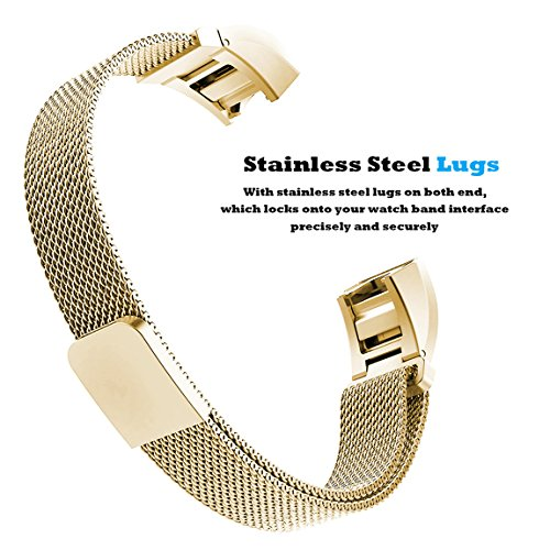 For Fitbit Alta HR and Alta Bands, Maledan Stainless Steel Milanese Loop Metal Replacement Accessories Bracelet Strap with Unique Magnet Lock for Fitbit Alta HR and Alta Large Small, Silver, Black, Gold, Rose Gold