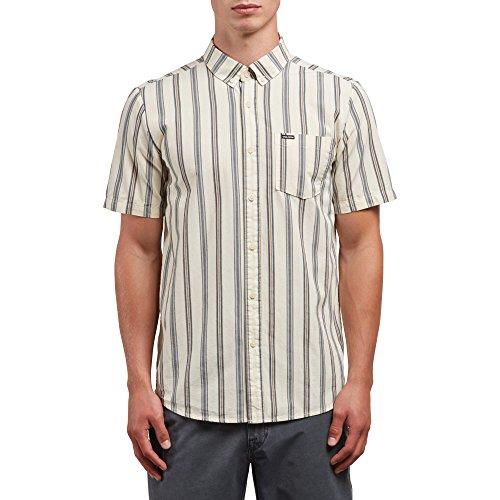 (Volcom Men's Mix Bag Short Sleeve Vertical Stripe Button Up Shirt, White Flash, XL)
