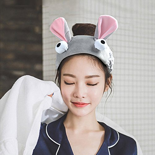 (Women's bunny Ear Headband - VANZAVANZU Best Fashionable Cute Fluffy Elastic Makeup Headband Hairband for Shower, Face Washing, Facial Mask, Spa, Cosplay, Party (bunny headband -)