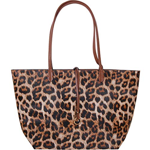 Humble Chic Reversible Vegan Leather Tote Bag - Oversized Top Handle Large Shoulder Handbag Purse, Leopard & Saddle Brown, Tan