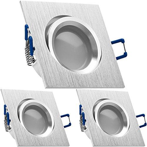 3er LED Einbaustrahler Set Bicolor (chrom   gebürstet) mit LED GU5.3   MR16 Markenstrahler von LEDANDO - 5W - warmweiss - 110° Abstrahlwinkel - 35W Ersatz - A+ - LED Spot 5 Watt - Einbauleuchte LED eckig