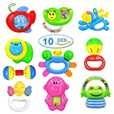 Kemuse 10 Baby Rattles Teether, Ball Shaker, Grab and Spin Rattle, Musical Toy Gift Set for Newborn Baby Infant & Gift Storage Bag