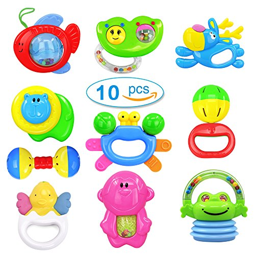 Kemuse 10 Baby Rattles Teether, Ball Shaker, Grab and Spin Rattle, Musical Toy Gift Set for Newborn Baby Infant & Gift Storage Bag (Baby Gift Packages)
