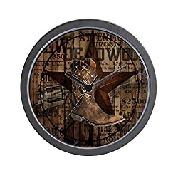 CafePress Equestrian Cowboy Boots Western Unique Decorative 10 Wall Clock