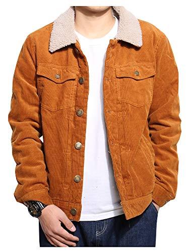 LifeHe Men Faux Fur Lined Corduroy Winter Thicken Warm Wool Blend Jacket Coat (Khaki, L)