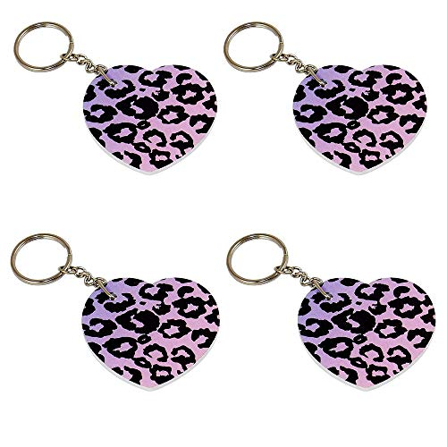 Sweet Safari 4 Nail File Key Rings - Heart Shape with Pink Leopard Print, Party Favor