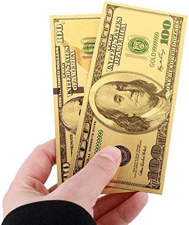 HENGTONGTONGXUN 2PCS /セット24Kゴールドメッキドル高品質紙幣100ドル札お土産記念ノートアンティークメッ