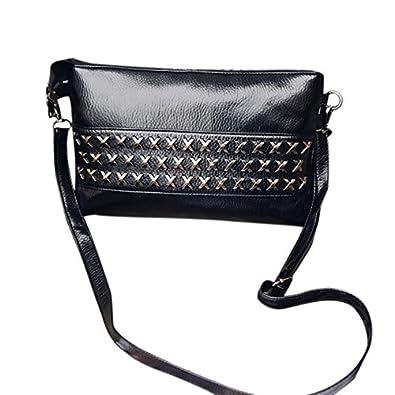 64b78e3473 SODIAL Nouveau sac de rivet en cuir PU de femmes decontracte de mode Paquet  d'