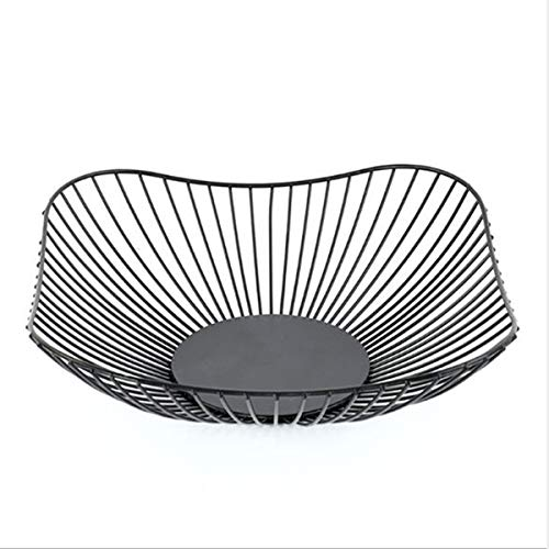 (GOLDCHEE Creative Nordic Style Iron Fruit Vegetable Fruit Bowl Desktop Bedroom Fruit Basket Large Capacity Modern Kitchen Countertop Wrought Iron Fruit Basket(BLACK))