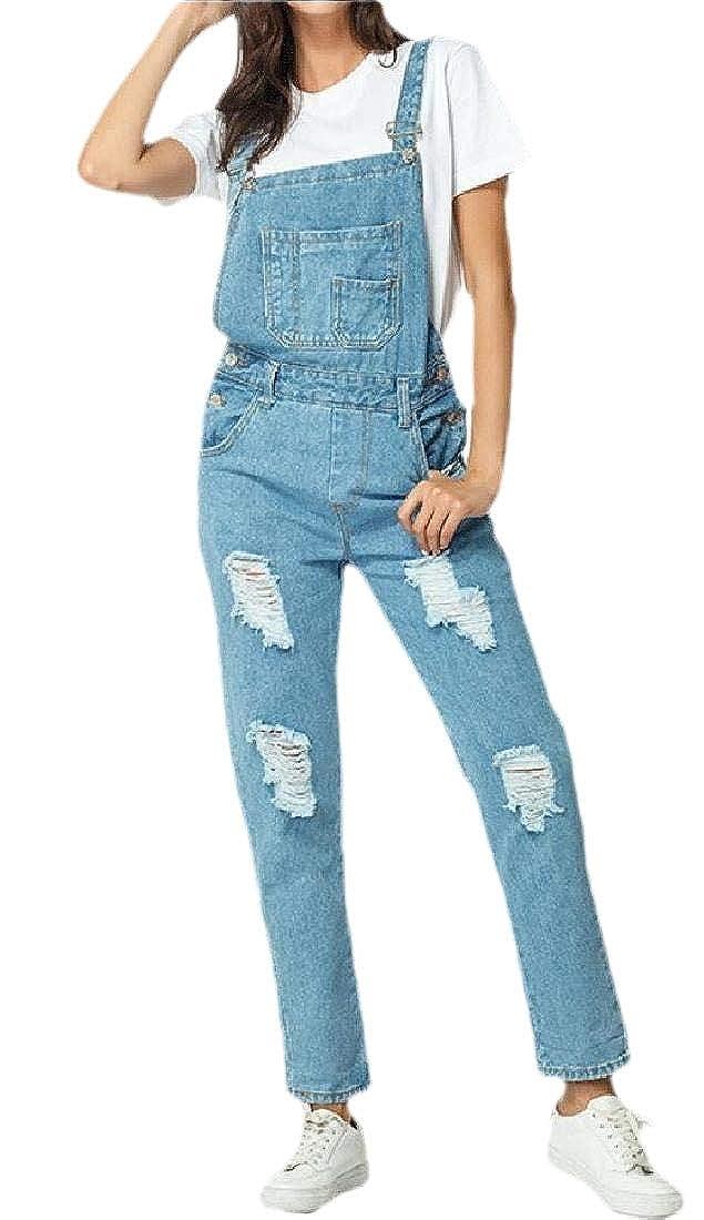 xiaohuoban Womens Distressed Ripped Skinny Jeans Bib Denim Overalls Jumpsuits