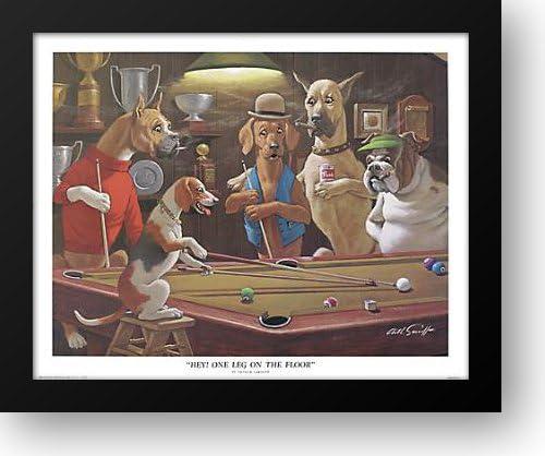 "Arthur SarnoffFramed Print /""One leg on the floor/"" Pool Dogs"
