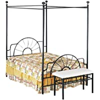 ACME 02084Q Sunburst Queen Canopy Bed HB/FB, Black Finish