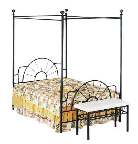 ACME 02084Q Sunburst Queen Canopy Bed HB/FB, Black Finish (Home Queen Bed Canopy)