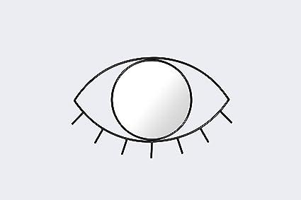 Cyclops Eye Wall Mirror Glass Mirror And Steel Frame Medium 21 X 16 X 1 3 Inches Black