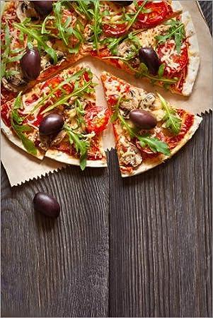 Posterlounge Cuadro de Aluminio 40 x 60 cm: Pizza with Mushrooms and arugula de Editors Choice