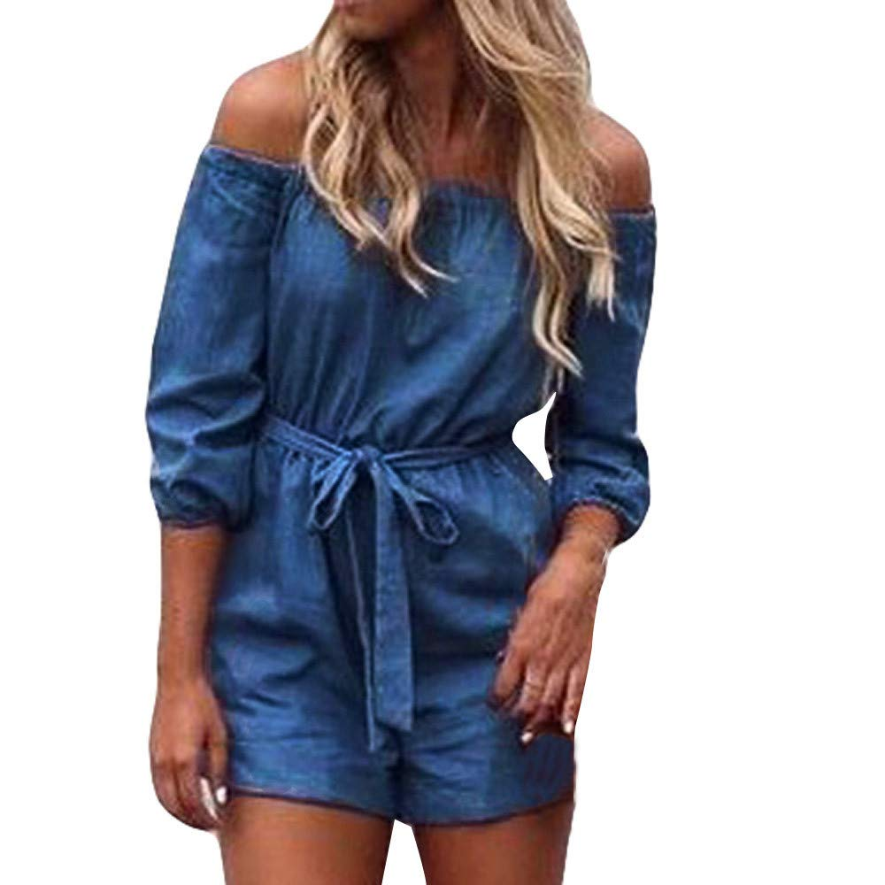 nanzhushangmao pants Denim Rompers,Women Off Shoulder Mini Playsuits Summer Half Sleeve Loose Jumpsuits Bodysuit