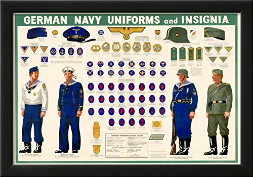 [German Navy Uniforms and Insignia Chart WWII War Propaganda Art Print Poster Framed Poster 21 x] (Ww2 Navy Uniforms)