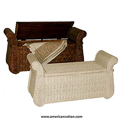 Dark Brown Stain Indoor Wicker Storage Bench with Wood Frame - Bed Bench, Entry, Shoe, or Hope Chest