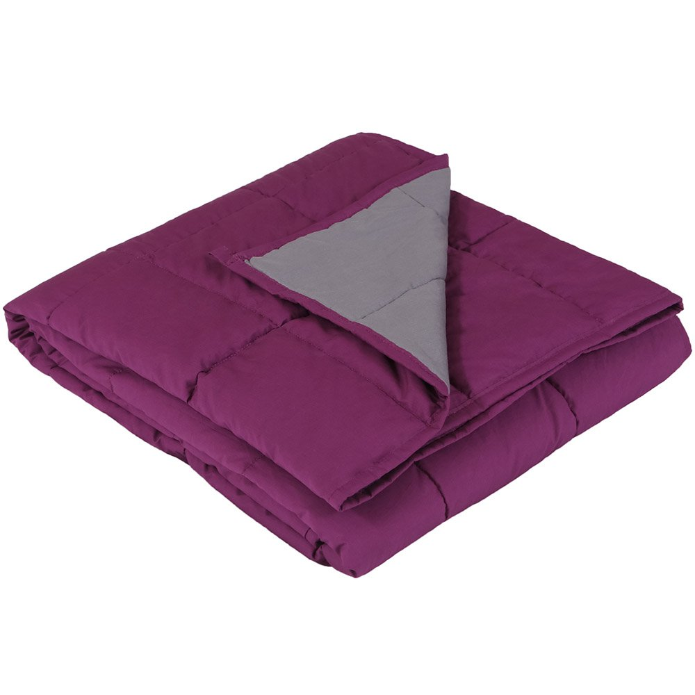Weighted Idea Weighted Blanket | 20 lbs | Grey/Purple | 60''x80 Adult Women Men | Occupational Therapy Anxiety, Insomnia, Agitation, Autism, ADHD | Fit Queen/King Sized Bed