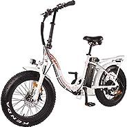 DJ Folding Bike Step Thru 500W 48V 13Ah Power Electric Bicycle, Pearl White, LED Bike Light, Suspension Fork a