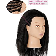Cosmetology Afro Mannequin Head with Hair for Braiding Cornrow or Practice Sew in on Hair Doll Head Manikins