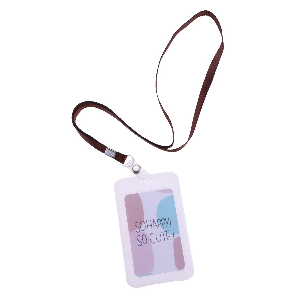 Sharplace Badge Protettivo Carta Identificazione Carta Autobus Tessera Verticale Accessori Cancelleria - Rosa e bianco non-brand