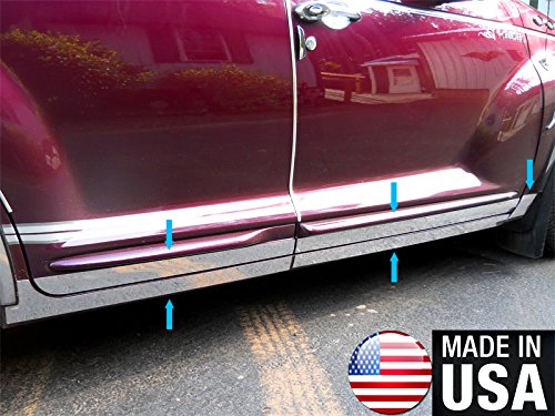 Made in USA! Works with 2000-2009 Chrysler PT Cruiser Lower Rocker Panel Chrome Stainless Steel Body Side Moulding Molding Trim Cover 5