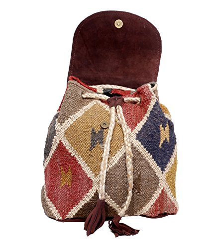 Indistar Women's Vintage Handmade Ethnic Kilim and Leather Back Pack Bag by Indistar