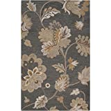 Surya Calypso CLP-5005 Transitional Hand Tufted 100% Wool Dark Slate Blue 2′ x 3′ Floral Accent Rug For Sale