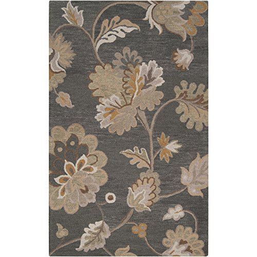 Surya Calypso CLP-5005 Transitional Hand Tufted 100% Wool Dark Slate Blue 2' x 3' Floral Accent Rug