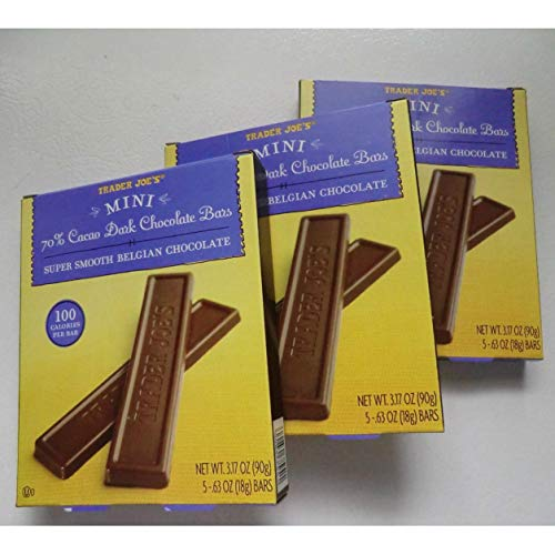 Trader Joe's Mini 70% Cacao Dark Chocolate Bars. Super Smooth Belgian Chocolate. 100 Calories Per Bar. Bundle of 3 Boxes. Each Box Is 3.17 Oz. 70% Cacao Dark Chocolate