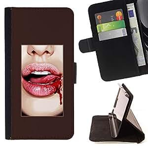 For Samsung Galaxy E5 E500 Case , Labios de sangre Lengua blanco atractivo Dientes- la tarjeta de Crédito Slots PU Funda de cuero Monedero caso cubierta de piel