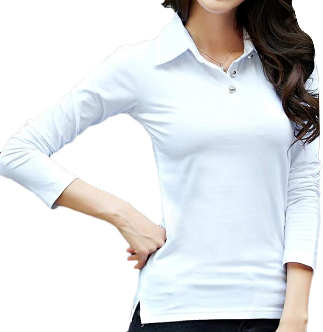 YUNY Womens Cotton Long Sleeve Slim Fit Solid Polo Fashion Blouse Tees White S