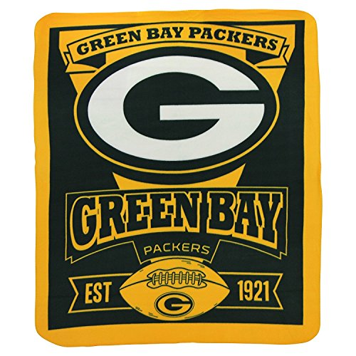 """The Northwest Company 1NFL/03102/0017/AMZ NFL Green Bay Packers Marque Printed Fleece Throw, 50"""" x 60"""", Green Bay Packers, 50 x 60"""