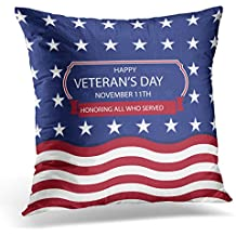 UPOOS Throw Pillow Cover Blue 4Th Veterans Day Red America American Decorative Pillow Case Home Decor Square 18x18 Inches Pillowcase