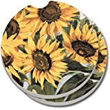 CounterArt Absorbent Stoneware Car Coaster, Sunflowers, Set of 2