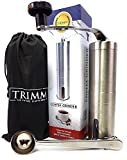 Cheap Trimm Burr Coffee Grinder | Manual Coffee Grinder | Conical Burr Mill Brushed Stainless Steel | For French press Espresso Grinder with Measuring Spoon and Cleaning Brush | Spices Burr Grinder