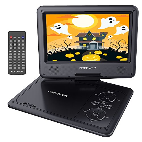 Read About DBPOWER 9.5 Portable DVD Player Swivel Screen, 5-Hour Built-in Rechargeable Battery, Sup...