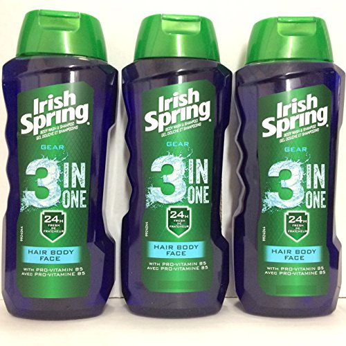 Irish Spring Gear 3-in-1 Body Wash, 15 Ounce Pack of 3