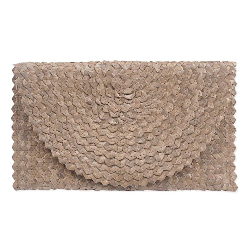 NOVICA Woven Natural Fiber Palm Leaf Hand Woven Clutch Handbag, Trance In Brown'