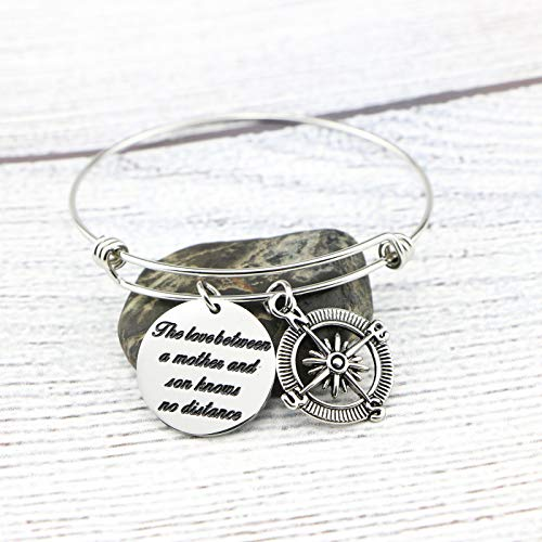 Memgift Gift for Mother Stainless Steel Bracelet The Love Between a Mother and Son Knows No Distance by Memgift (Image #1)