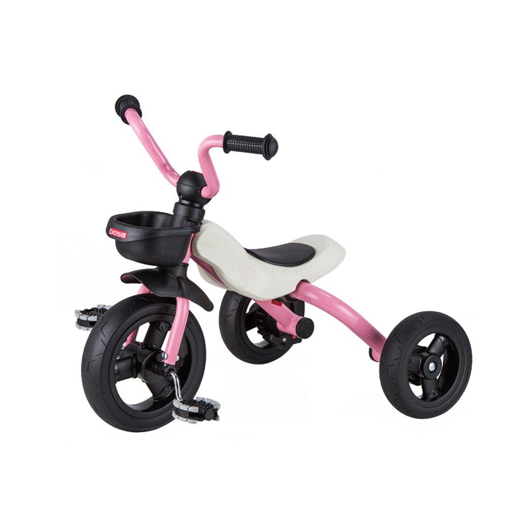 子供の三輪車バイク2-6歳赤ちゃん折りたたみ自転車ベビーカー、レッド、オレンジ、ピンク、シアン63 * 45 * 53cm ( Color : Pink ) B07C7TPHBV