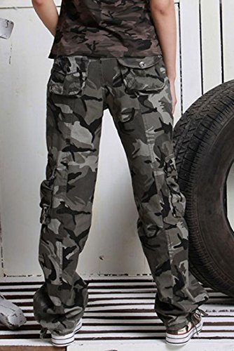 chouyatou Women's Casual Camouflage Multi Pockets Cargo Pants - stylishcombatboots.com