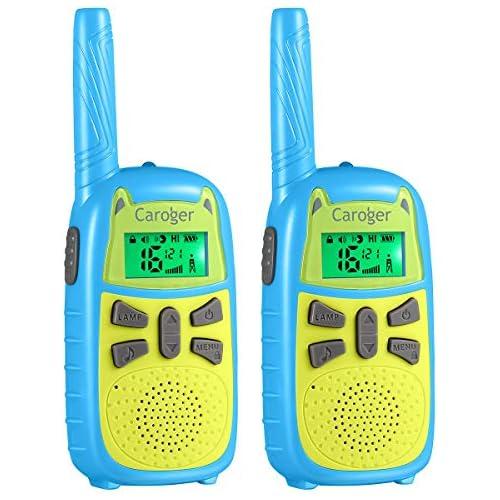 chollos oferta descuentos barato Walkie Talkie Niños Batería Super Save 7 Colores de Pantalla 16 Canales 2PCS 2 Millas Radio Largo Alcance Juguete con Linterna y VOX Potencia Trabajo Dual de 0 1W y 0 5W Azul