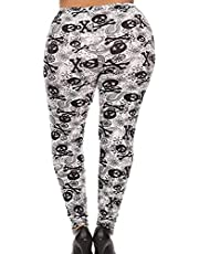Plus Size Appeal Woman's Buttery Soft Plus Size Skull Leggings Gothic Paisley Black White Punk Rock Rockabilly
