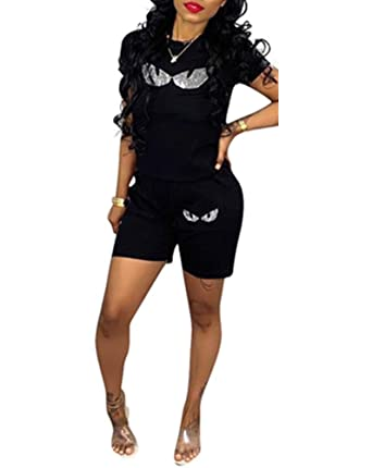 a7206e2ca270 LETSVDO Casual Sports Suit Women Two Piece Outfits Eyes Sequins Print T- Shirt Shorts Set