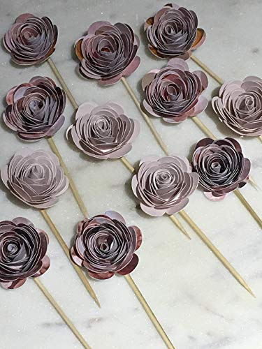 Patterned Pink Paper Flower Cupcake Toppers, Wedding, Engagement Party Cupcake Toppers, Bachelorette Party