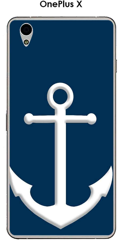 Carcasa OnePlus X Design ancla blanca fondo azul: Amazon.es ...